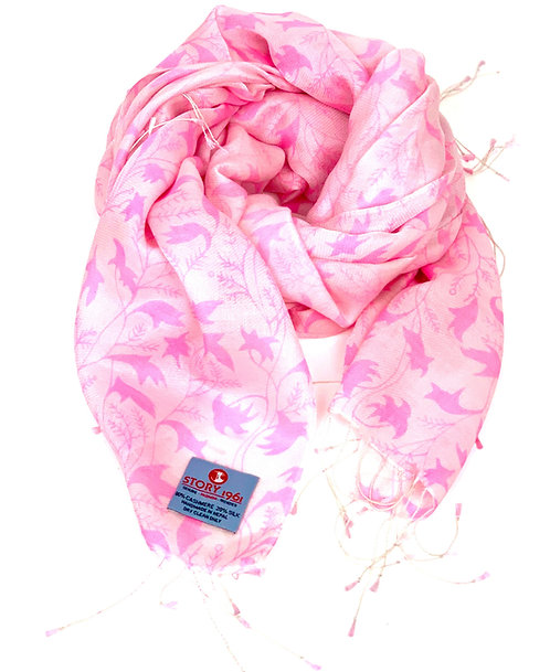 Waterpashmina Scarf Flower Pink meets Baby Rose