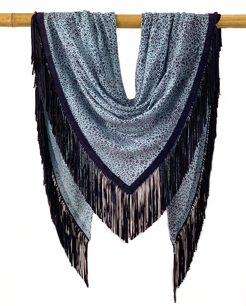 Open Poncho Leo Baby Blue meets Navy Blue