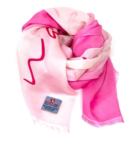 Waterpashmina Scarf Marbella Pink meets Baby Rose