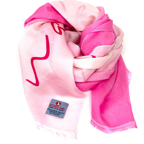 Waterpashmina Scarf Marbella Pink meets Baby Rose