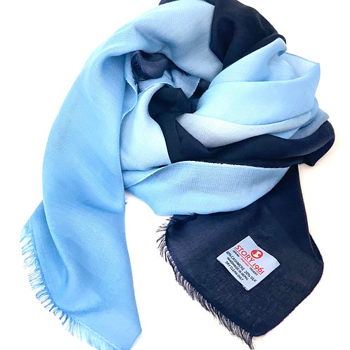 Waterpashmina Scarf Navy Blue meets Sky Blue