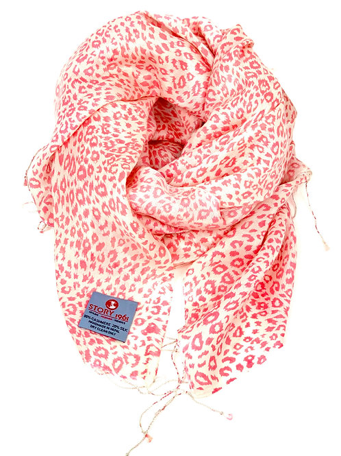 Waterpashmina Scarf Leo White meets Pink