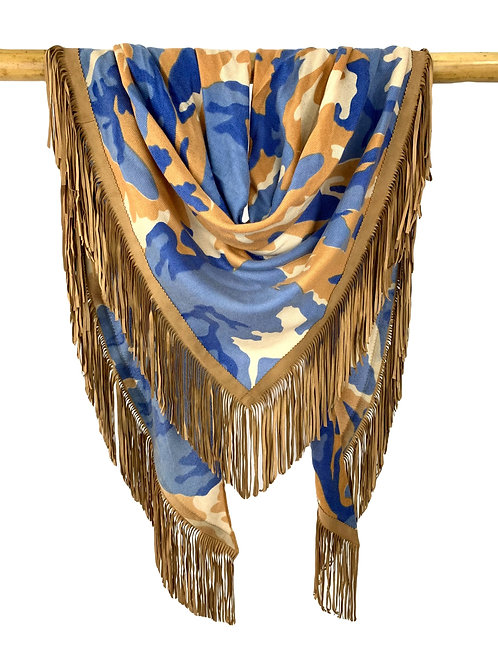 Open Poncho Camouflage Ocean Blue meets Camel