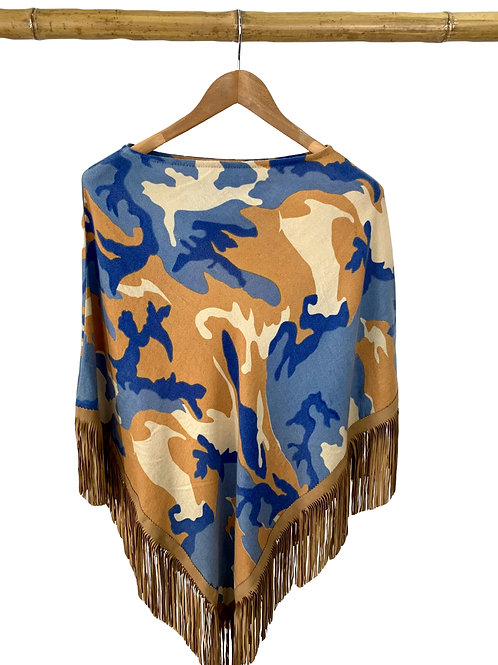 Classic Poncho Camouflage Ocean Blue meets Camel