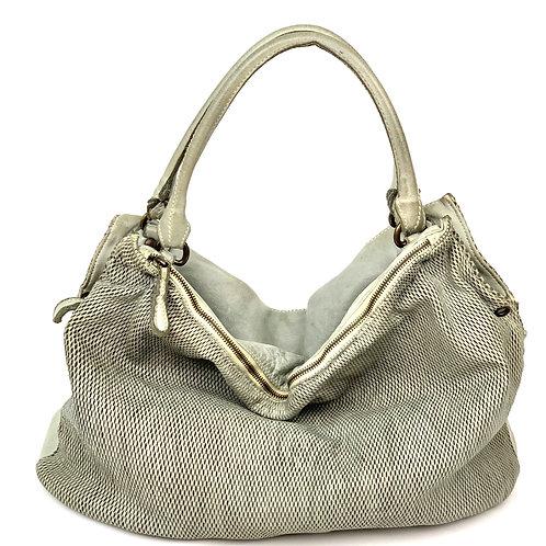 Reptile's House Handbag Leather Silver Gray