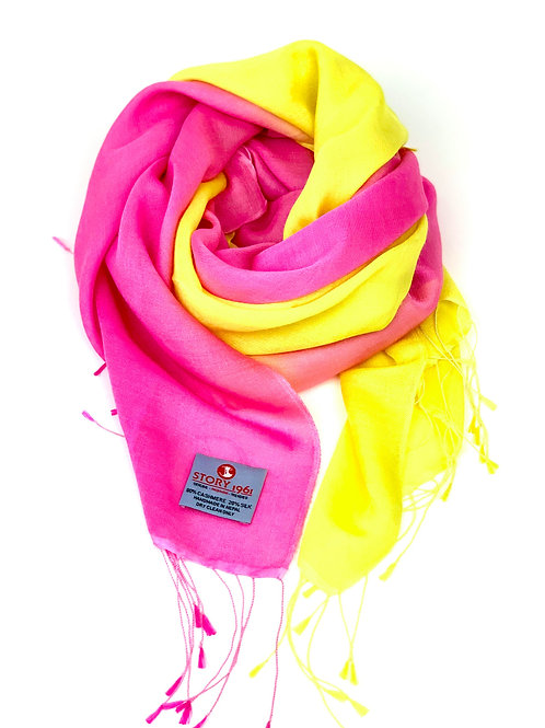 Waterpashmina Scarf Pink meets Lemmon
