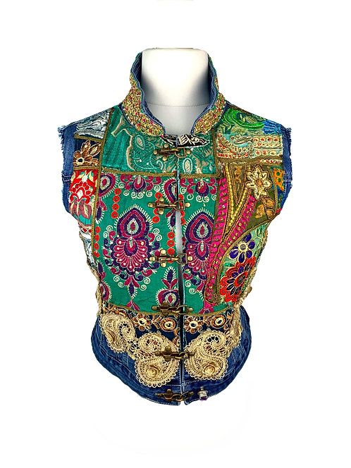 Dassios Jeans Vest Green/Blue