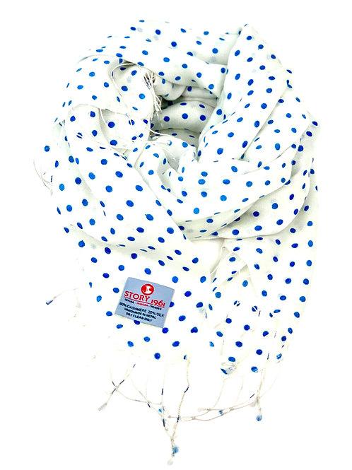Waterpashmina Scarf Dots White meets Sky Blue