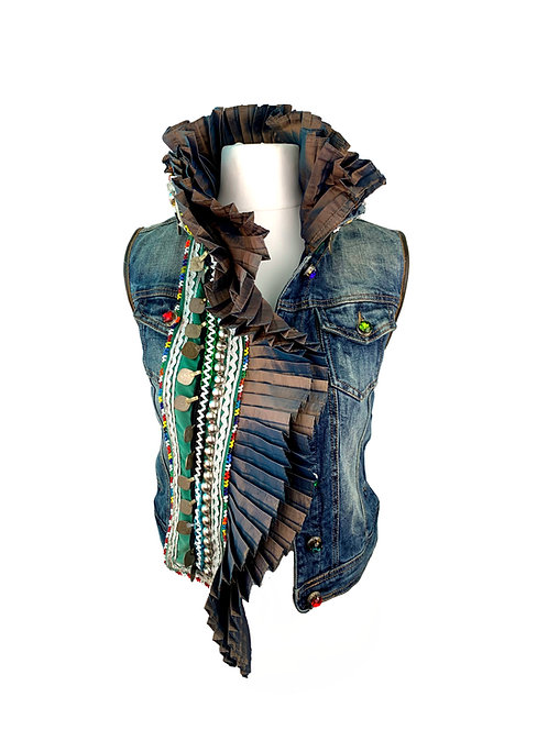 Dassios Jeans Vest Silk pleated Volant