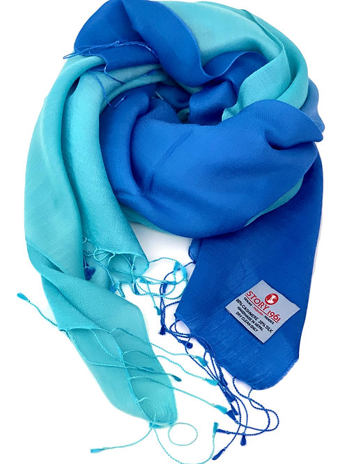 Waterpashmina Scarf Sky Blue meets light Turquoise