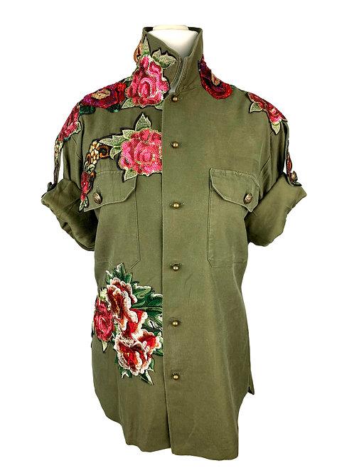 Dassios Shirt Military Flowers
