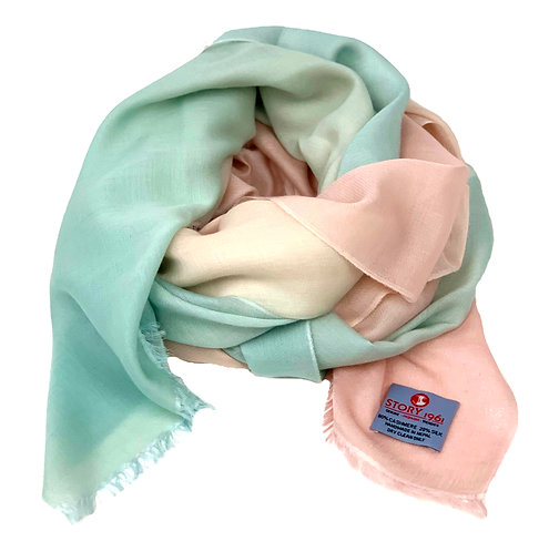 Waterpashmina Scarf Baby Rose meets Light Blue