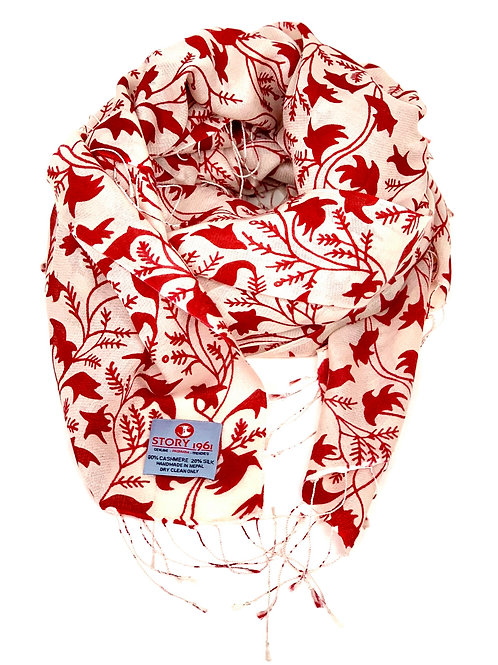 Waterpashmina Scarf Flower Cream meets Red Wine