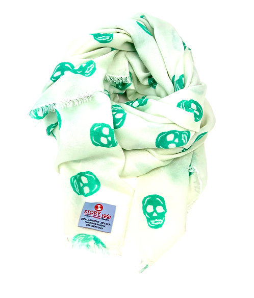 Waterpashmina Scarf Skull Off White meets Green