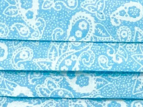 Mask Paisley Baby Blue/White