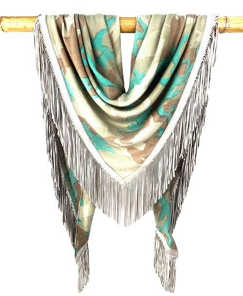 Open Poncho Camouflage Taupe meets Mint