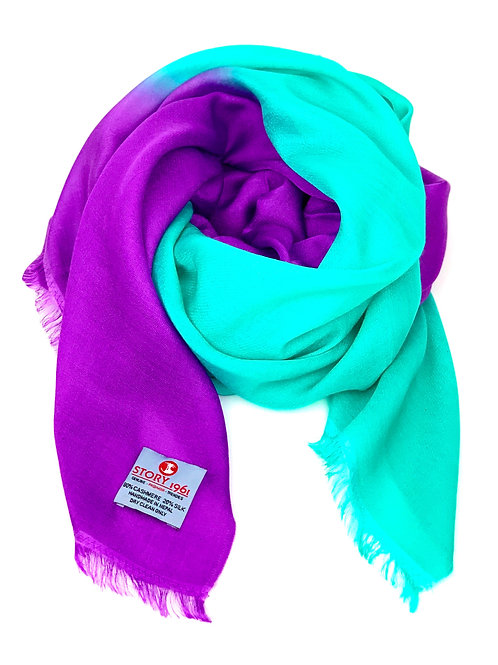 Waterpashmina Scarf Purple meets Aqua