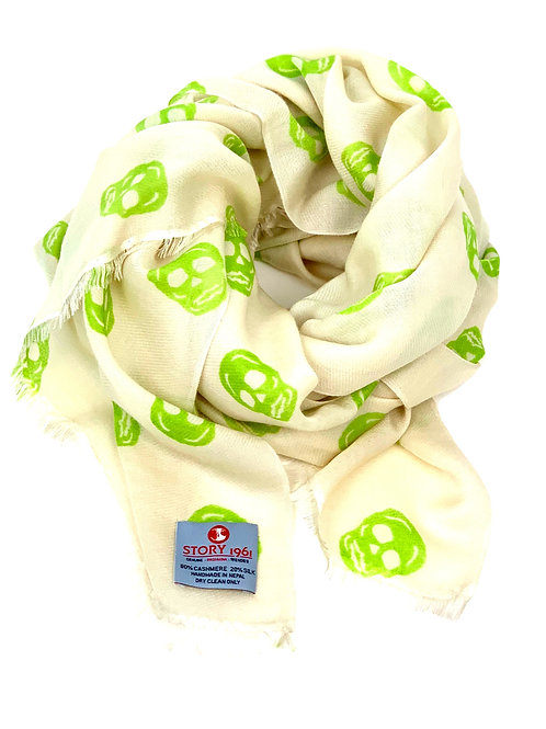 Waterpashmina Scarf Skull Cream meets Lime