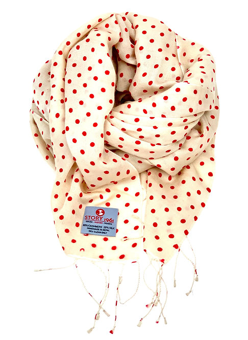 Waterpashmina Scarf Dots Cream meets Red