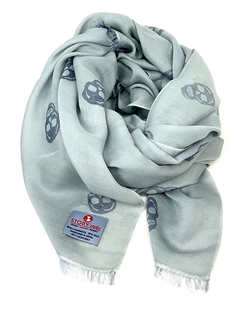 Waterpashmina Scarf Skull Silver meets Gray