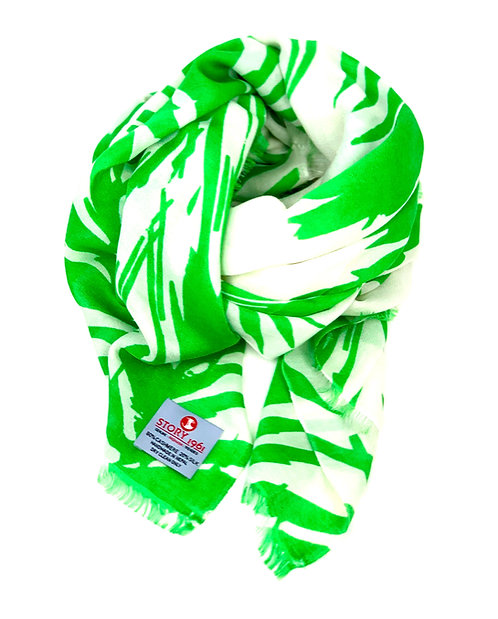 Waterpashmina Scarf Palm leaf White meets Grass Green