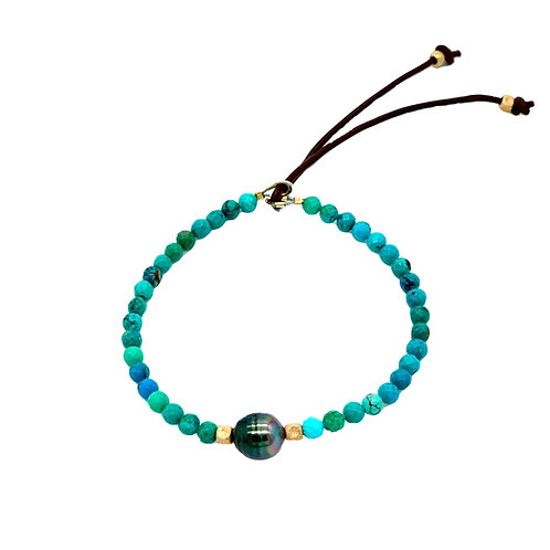 Catherine Michiels Men Bracelet with Turquoise and Tahitian Pearl