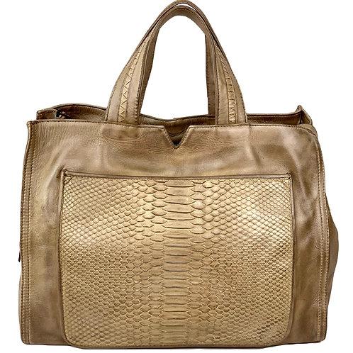 Reptile's House Handbag Phyton Dark Sand