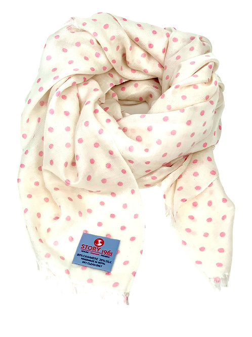 Waterpashmina Scarf Dots White meets Rose