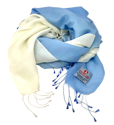Waterpashmina Scarf Baby Blue meets White