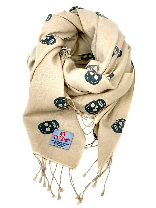 Genuine Scarf Skull Cream meets Dark Gray