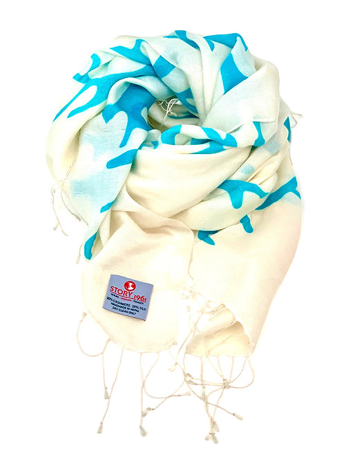 Waterpashmina Scarf Coral White meets Turquoise