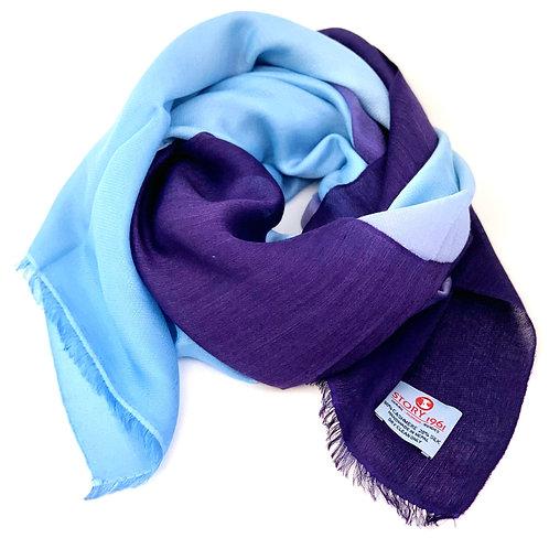Waterpashmina Scarf Purple Blue meets Sky Blue