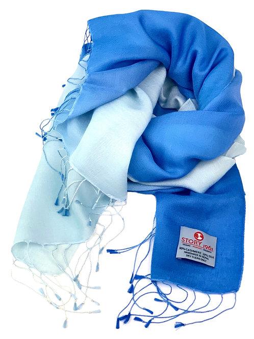 Waterpashmina Scarf Sky Blue meets Light Blue