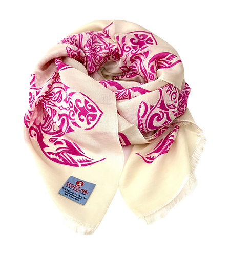 Waterpashmina Scarf Turtle Cream meets Purple