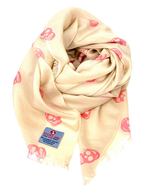 Waterpashmina Scarf Skull Cream meets Rose