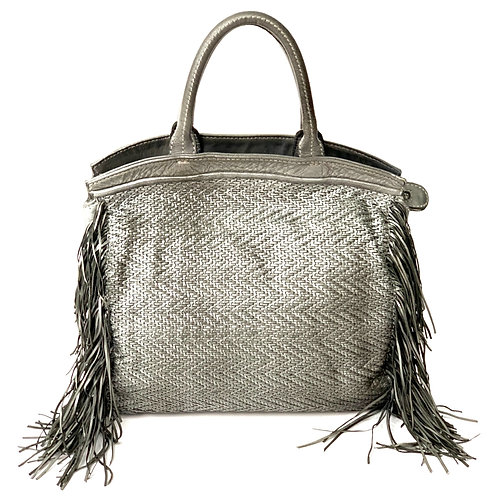Reptile's House Handbag Leather Silver Gray