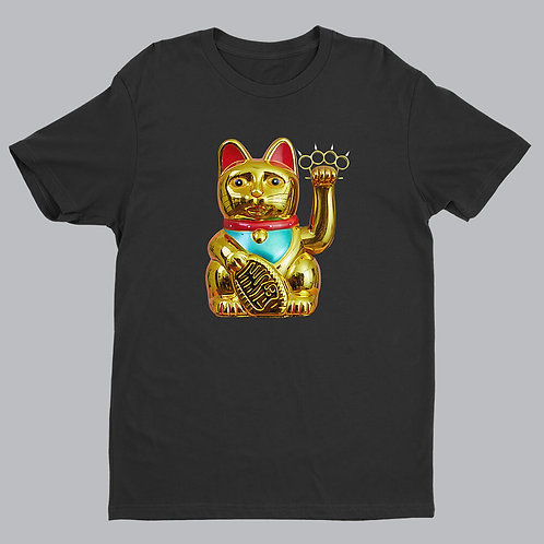 Maneki-neko on black tshirt
