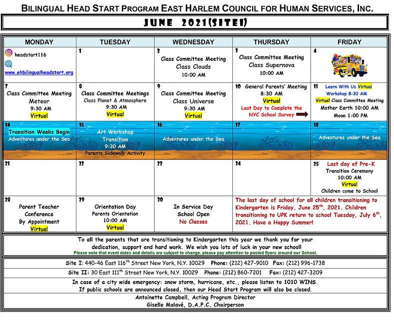 Bilingual Head Start June 2021 Calendar