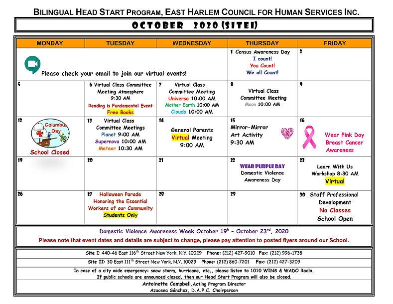 Bilingual Head Start October 2020 Calend