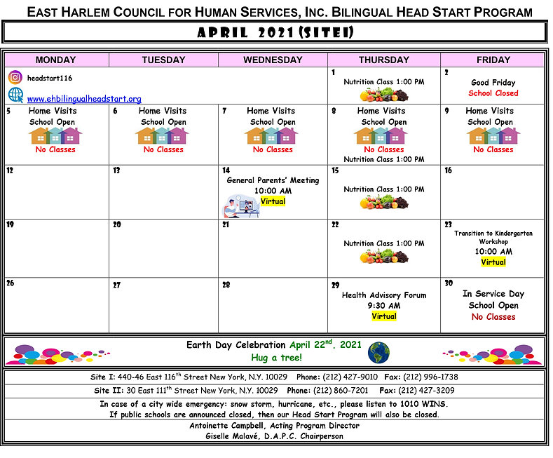 Head Start Calendar of Activities April