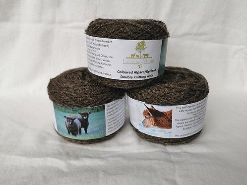 Alpaca / Ryeland blend knitting wool - white and coloured
