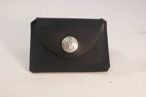 Small Wallet Buffalo Nickel, Black Saddle Leather