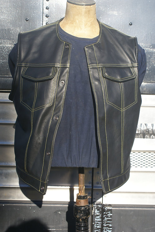 Master Cut de Luxe  Leather Vest with Golden Yellow Stitching and Gold Lining