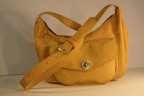 "Handbag ""Socius"", Size Large, in Mustard Brown Buffalo Leather"