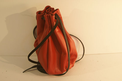Marble Bag/ String Pouch in Red California Cowhide Leather, Size Large
