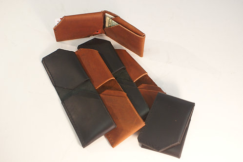 Sleek Slender Wallet in Black or Tobacco Brown