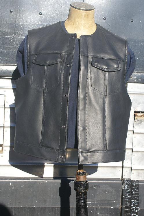 Master Cut de Luxe Leather Vest, Size XXL, Midnight Black, Red Bandana Lining
