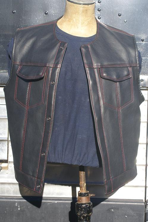 Master Cut de Luxe Vest, Midnight Black, Red Stitching, XXL, Red Bandana Lining
