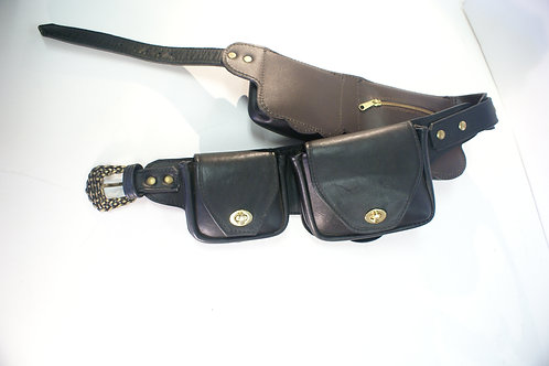"Festival Belt ""Fairy Land"" Black Top-Grain Leather, adjustable"