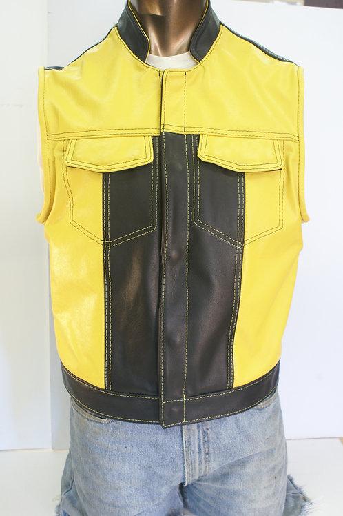 Custom Master Cut Black n Yellow w/1inch Riding Collar, Reverse Color Stitching